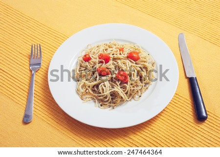 healthy lunch food still life  - stock photo
