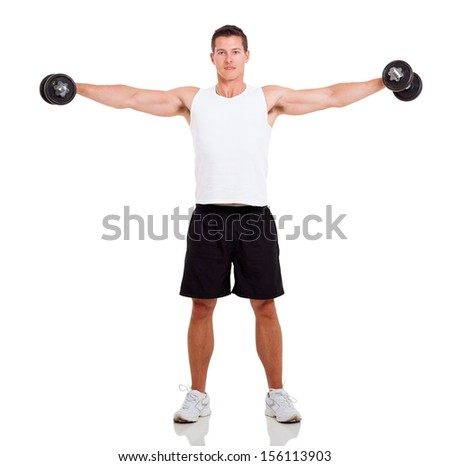 healthy man working out with dumbbells over white background