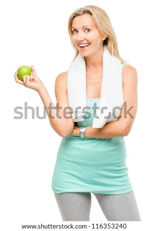 Healthy mature woman exercise green apple isolated on white background
