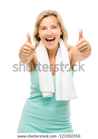 Healthy mature woman thumbs up sign isolated on white background