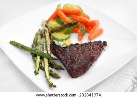 Healthy meal barbecue grill cookout meat steak veggies vegetables isolated - stock photo