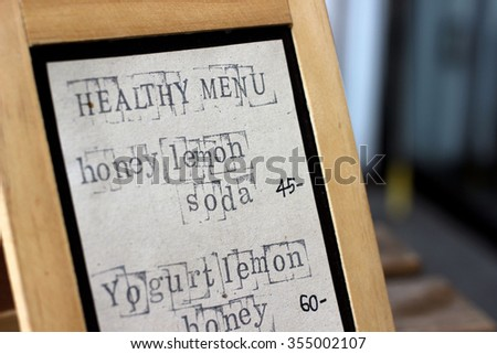 Healthy menu on board