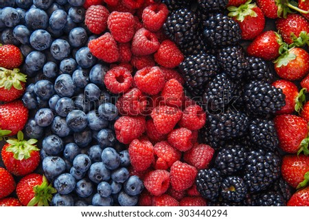 Healthy mixed fruit and ingredients with strawberry, raspberry, blueberry, blackberry from top view