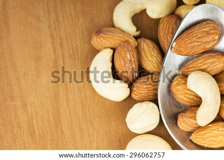Healthy mixed nuts closeup. Food background