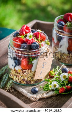 Healthy muesli with yogurt and berry fruits in sunny day - stock photo