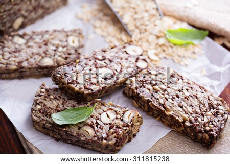 Healthy multigrain bread with oats, nuts and seeds - stock photo