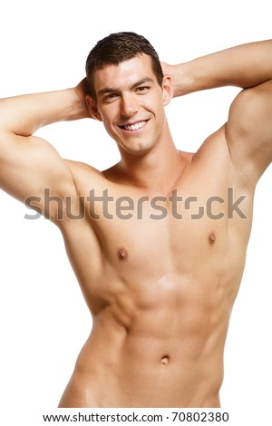 Healthy muscular young man. Isolated on white background. - stock photo