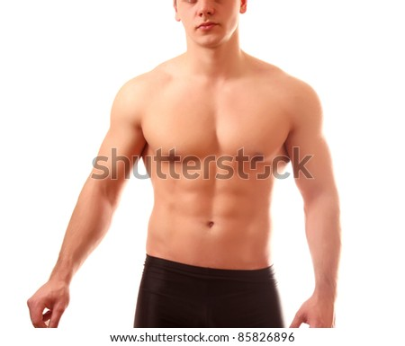 Healthy muscular young man. Isolated on white background.