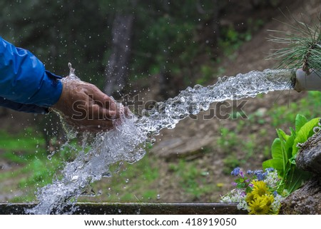 healthy natural spring water - stock photo