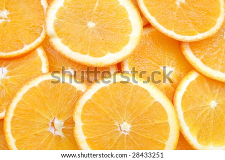 healthy orange fruit background with sliced oranges