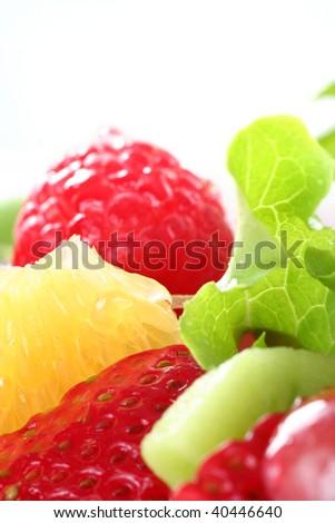healthy organic fresh fruit salad - stock photo