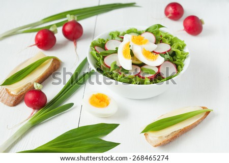 Healthy organic nutrition spring salad with raw ripe vegetables and sandwich on white table - stock photo