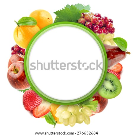 Healthy Organic Vegetables and Fruits on a white Background. Art Border Design with copy space to add text. - stock photo