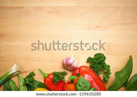 healthy organic vegetables on a wood background  - stock photo