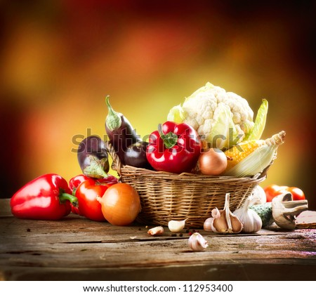 Healthy Organic Vegetables Still life Art Design - stock photo