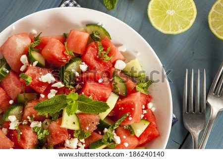 Healthy Organic Watermelon Salad with Mint, Feta, and Cucumber - stock photo