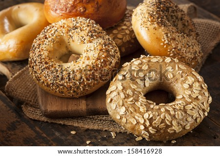 Healthy Organic Whole Grain Bagel for Breakfast - stock photo