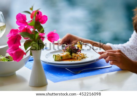Healthy restaurant lunch for vacation couple in summer - stock photo