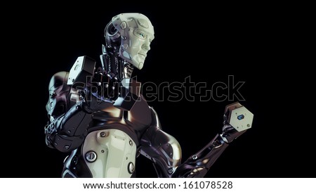 Healthy robot takes care about figure and shakes muscles / Cool strong robot lift dumbbells - stock photo