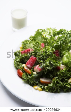 Healthy salad topping with crab stick