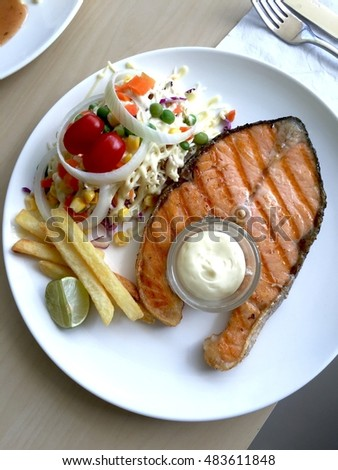 Healthy Salmon steak.