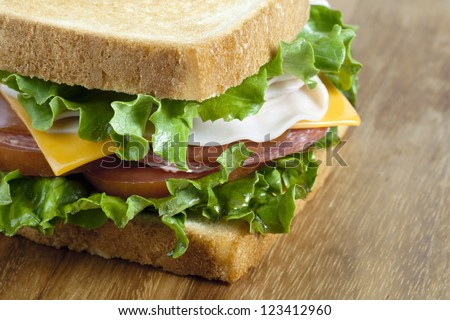 Healthy sandwich in a cropped image
