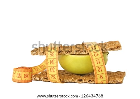 Healthy sandwich isolated on white. Healthy nutrition and weight loss concept - stock photo