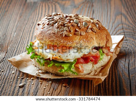healthy sandwich on brown wooden table - stock photo