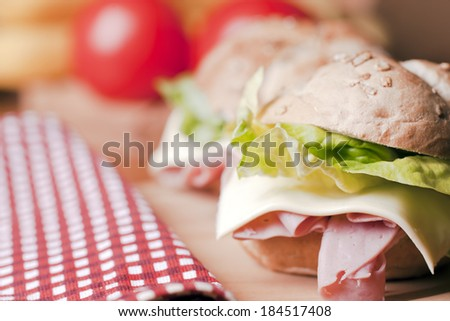 Healthy sandwich with ham,lettuce,cheese