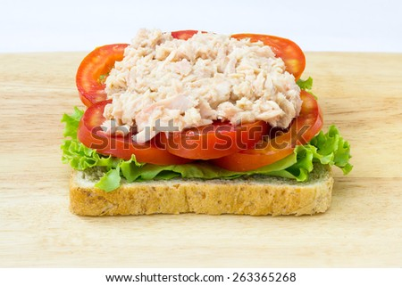 Healthy sandwich with tuna,whole wheat bread,lettuces and tomatoes - stock photo