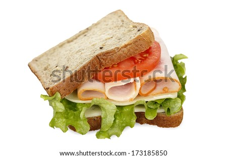 healthy sandwich with wholesome bread on white