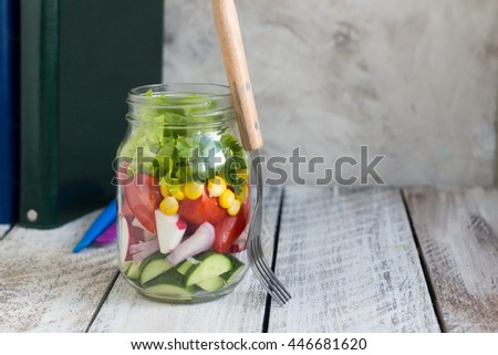 Healthy school lunch. Vegetable salad.  Copy space - stock photo