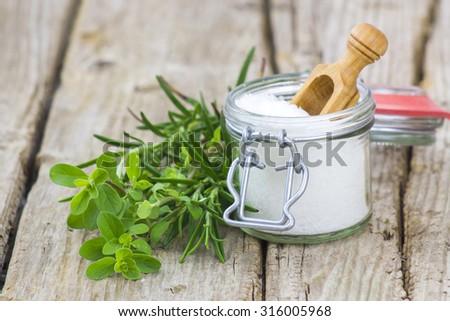 Healthy sea salt and fresh herbs - stock photo