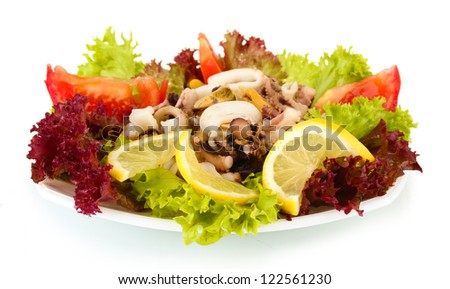 Healthy Seafood Salad with shrimps,octopus and mussels,squids isolated on white
