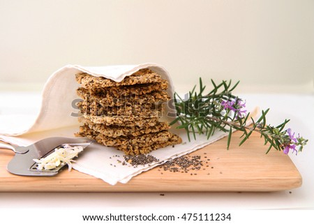 Healthy Seed Crackers with Parmesan Cheese and Rosemary