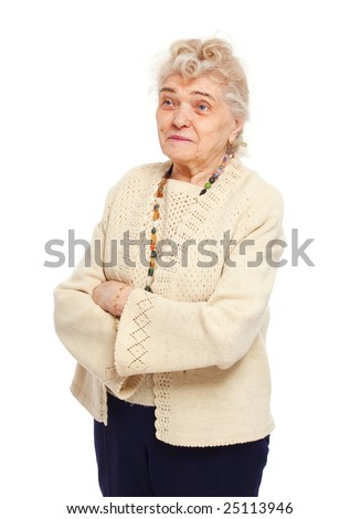 healthy senior woman looking at one side and smiling