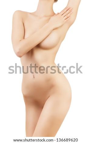 healthy sexy woman body on white background - stock photo