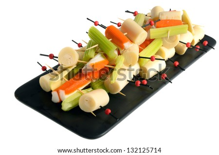 Healthy skewers appetizers. Tomatoes, figs, bell pepper, cheese.