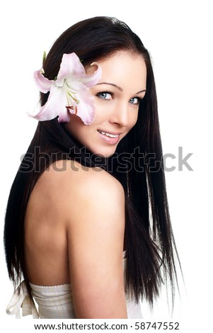 healthy skin of young female face - isolated - stock photo