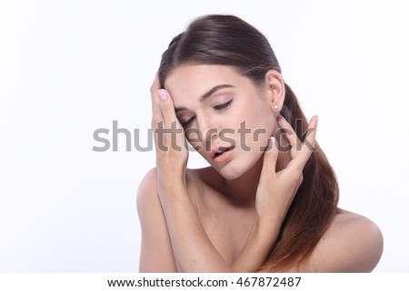 Healthy Slim Nice Skin caucasian  lady with Clear Make Up, playing with hand