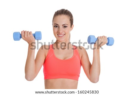 healthy smiling girl fitness workout with dumbbell isolated on white