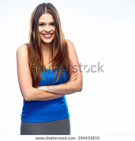 Healthy smiling woman isolated white background studio portrait.
