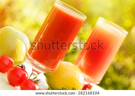 Healthy smoothie  and juice - stock photo