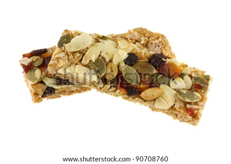 Healthy Snack : Cereal Bars : germinate rice whole grains with fruits, isolated on white - stock photo