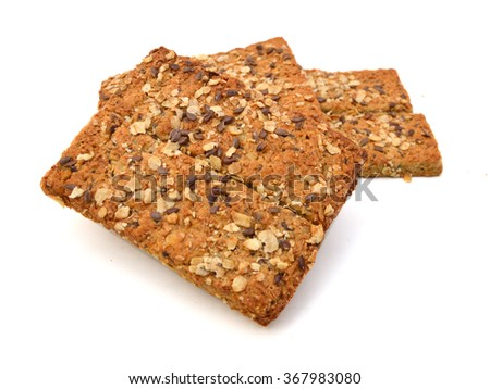 Healthy Snack : Cereal Bars : germinate rice whole grains with fruits on white background, Multigrain Bar