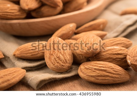 Healthy snack whole almond nut kernels - stock photo