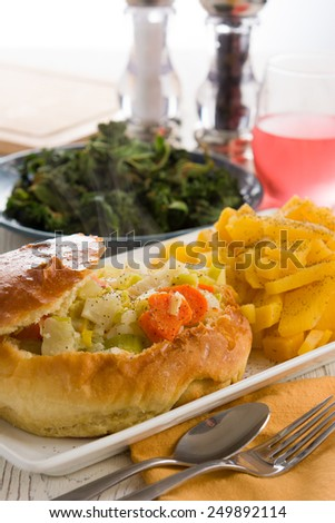 Healthy Soup in a Bread Bowl with Vegitables - stock photo