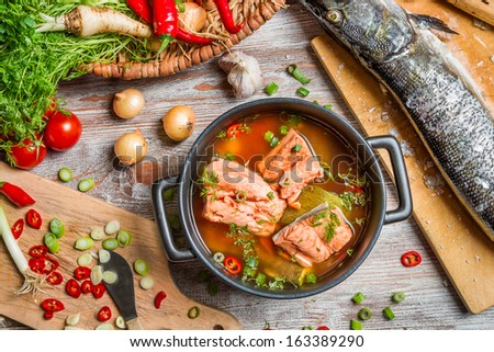 Healthy soup made of fresh vegetables - stock photo