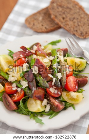 Healthy Spring salad with asparagus  - stock photo