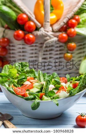 Healthy spring vegetable salad - stock photo
